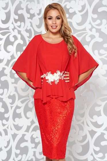 Red occasional laced dress with inside lining from veil fabric with embroidery details