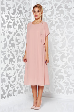 Rosa elegant flared dress voile fabric with inside lining large sleeves