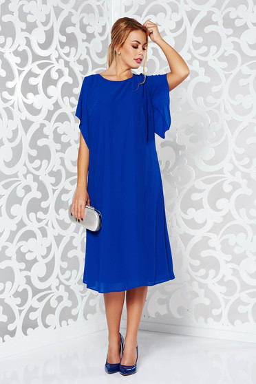 Blue dress elegant flared voile fabric with inside lining large sleeves
