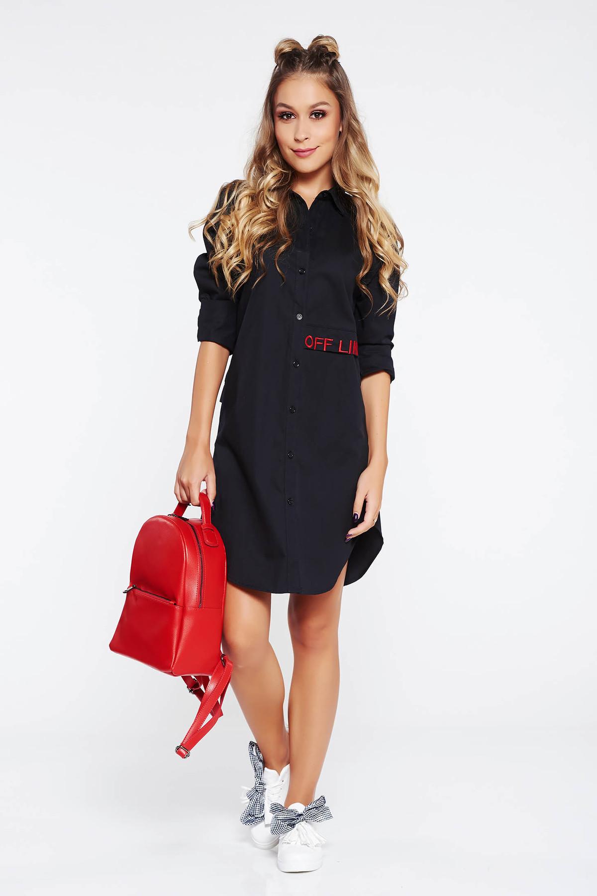 Camasa dama SunShine neagra casual asimetrica brodata cu croi larg si maneci lungi