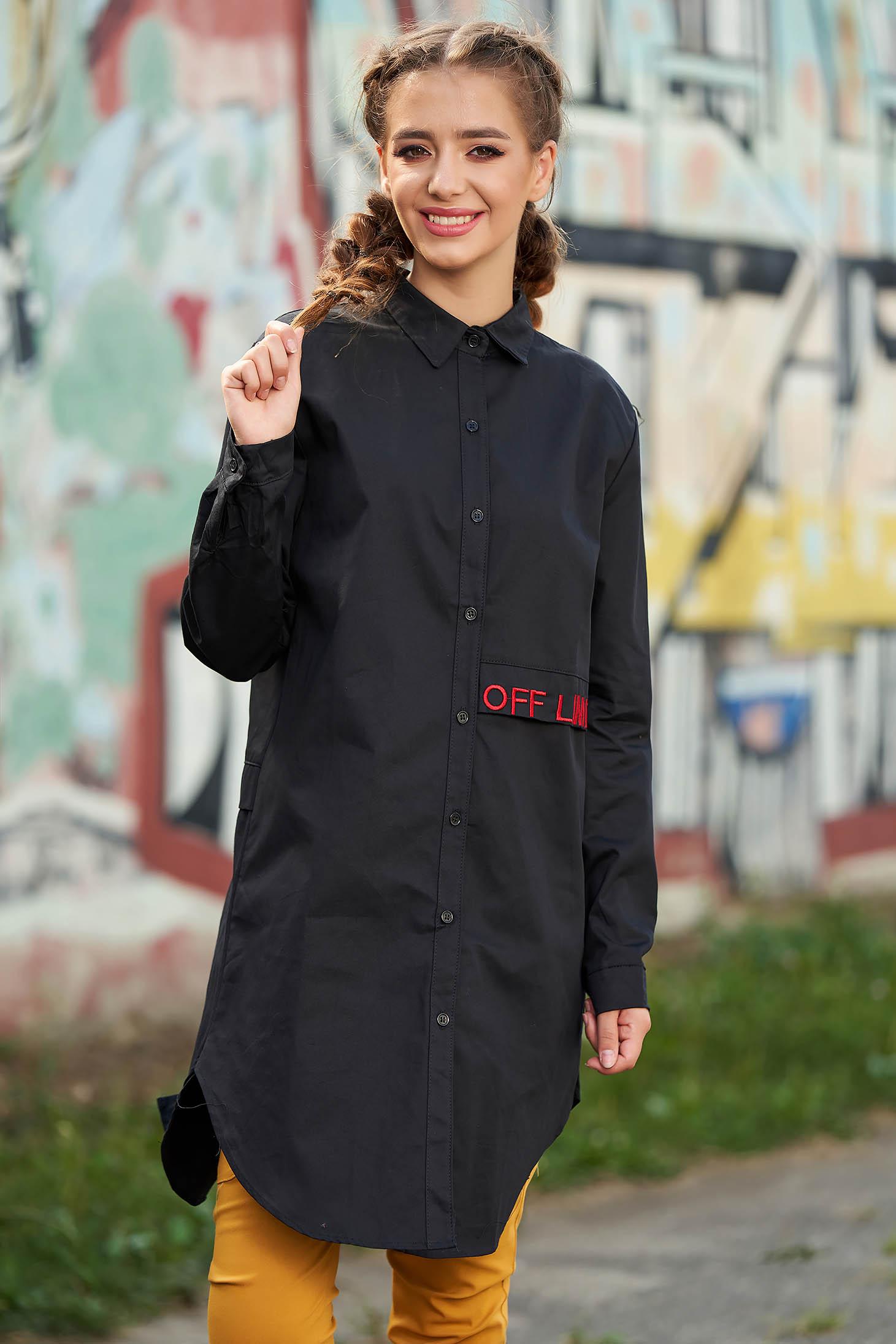 Camasa dama SunShine neagra casual asimetrica din bumbac cu croi larg cu maneci lungi si imprimeu cu scris