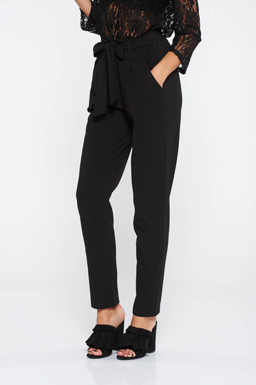 SunShine black trousers casual slightly elastic fabric high waisted with pockets