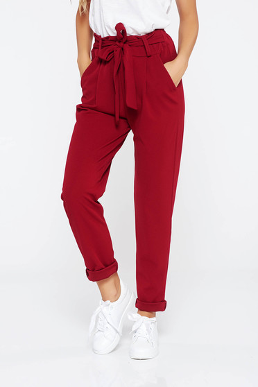 SunShine burgundy trousers casual slightly elastic fabric high waisted with pockets