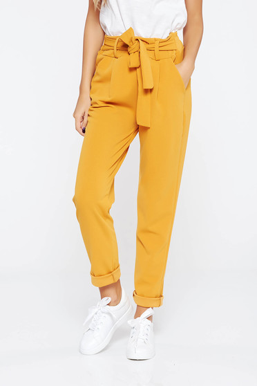 SunShine mustard trousers casual slightly elastic fabric high waisted with pockets