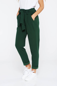 SunShine darkgreen trousers casual slightly elastic fabric high waisted with pockets
