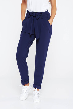 SunShine darkblue trousers casual slightly elastic fabric high waisted with pockets