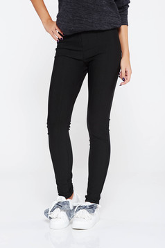 SunShine black trousers casual high waisted from elastic fabric with tented cut