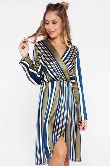 SunShine khaki dress daily from satin fabric texture with elastic waist with v-neckline