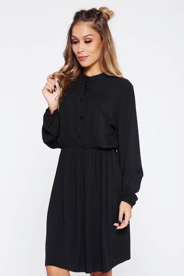 SunShine black dress casual with elastic waist cloche airy fabric