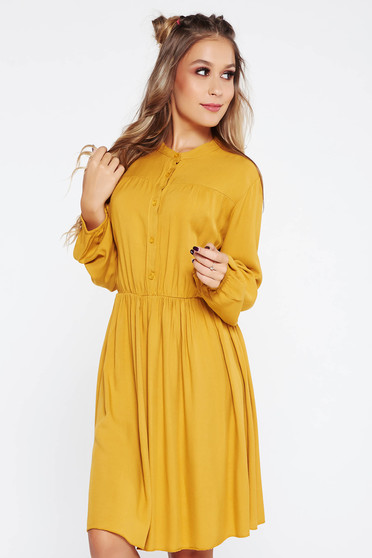 SunShine mustard dress casual with elastic waist cloche airy fabric