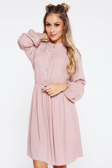 SunShine rosa dress casual with elastic waist cloche airy fabric