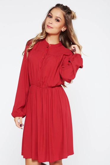 SunShine burgundy dress casual with elastic waist cloche airy fabric