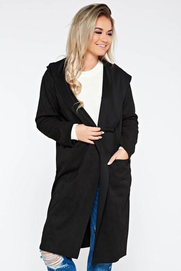 Black casual flared long trenchcoat from velvet fabric