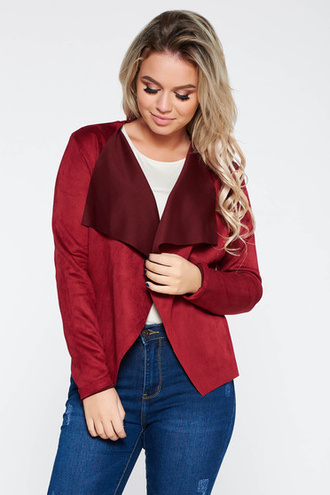 SunShine burgundy cardigan casual with easy cut from velvet fabric from soft fabric