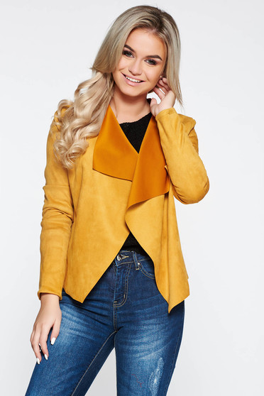 SunShine mustard cardigan casual with easy cut from velvet fabric from soft fabric