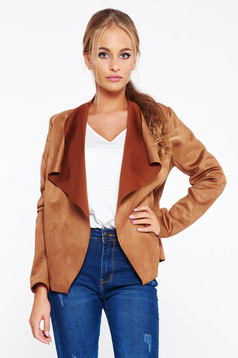 SunShine brown cardigan casual with easy cut from velvet fabric from soft fabric