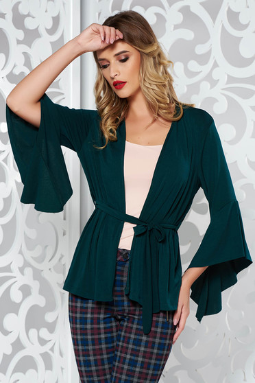 Darkgreen cardigan with easy cut accessorized with tied waistband with bell sleeve soft fabric