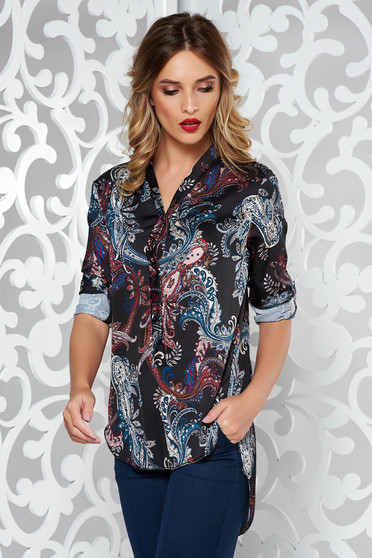 Black elegant flared asymmetrical women`s blouse from satin fabric texture