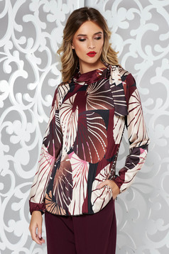 Purple elegant flared women`s blouse folded up from satin fabric texture