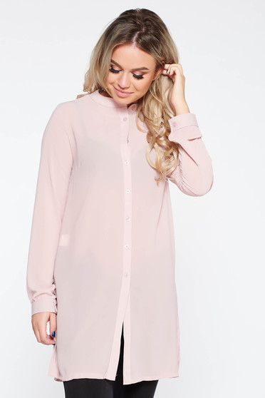 Elegant flared women`s shirt slightly transparent fabric rosa