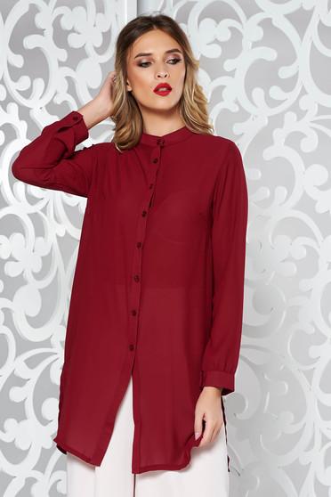 Elegant flared women`s shirt slightly transparent fabric burgundy