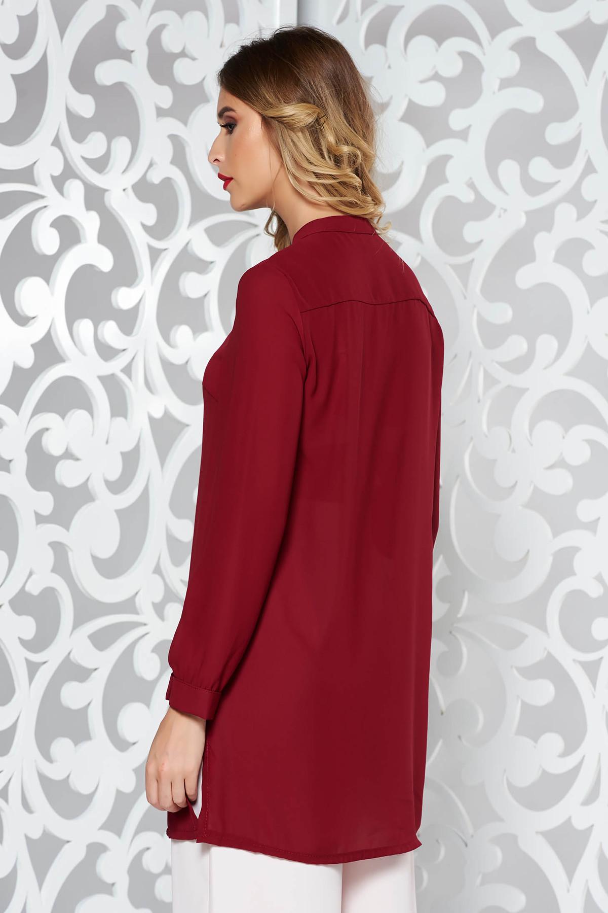 Camasa dama SunShine visinie eleganta cu croi larg din din material usor transparent cu maneca lunga