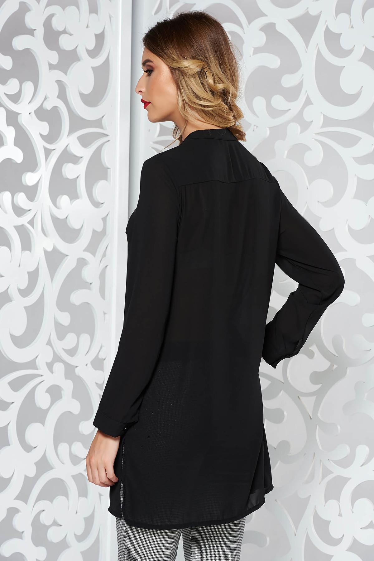 Camasa dama SunShine neagra eleganta cu croi larg din material usor transparent cu maneca lunga