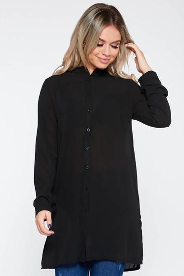 Elegant flared women`s shirt slightly transparent fabric black