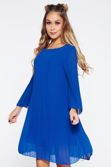 Daily folded up dress with easy cut transparent fabric blue