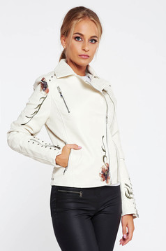 SunShine white jacket casual from ecological leather embroidered with inside lining with metallic spikes