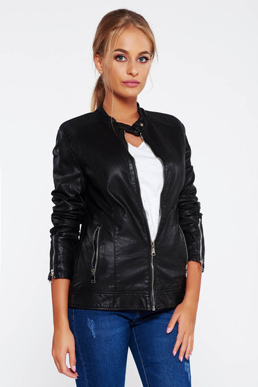 SunShine black jacket casual from ecological leather with inside lining with pockets