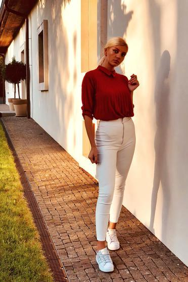 Burgundy SunShine elegant women`s blouse with easy cut folded up transparent chiffon fabric