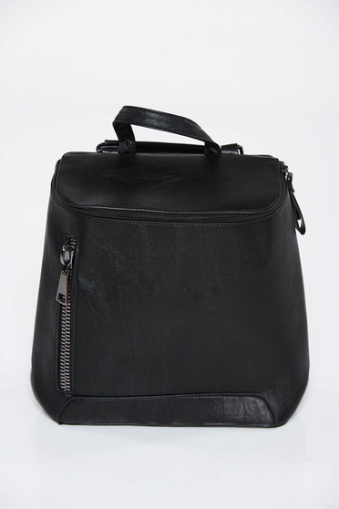 Black backpacks casual from ecological leather zipper accessory