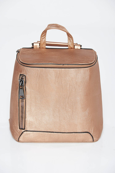 Gold backpacks casual from ecological leather zipper accessory