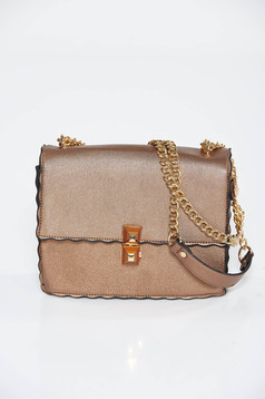 Brown bag casual from ecological leather long chain handle