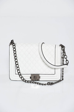 White bag casual from ecological leather long chain handle