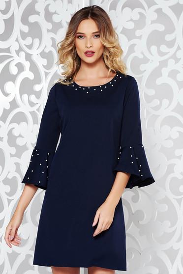 Darkblue elegant dress with straight cut slightly elastic cotton with pearls