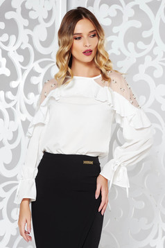 White women`s blouse elegant with small beads embellished details with pearls thin fabric with ruffle details flared