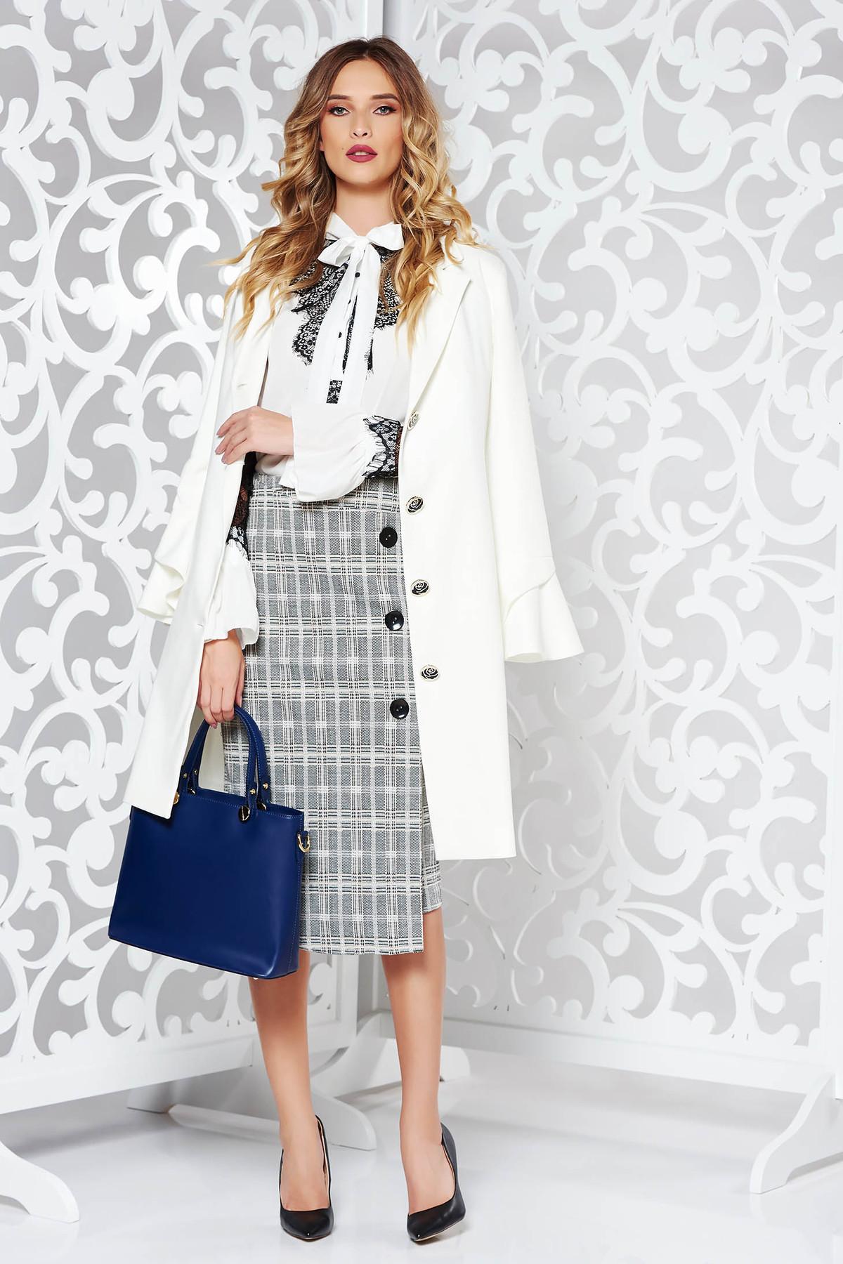 Camasa dama alba eleganta cu croi larg din material usor transparent cu aplicatii de dantela