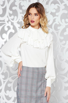 White elegant flared women`s shirt with puffed sleeves with ruffle details