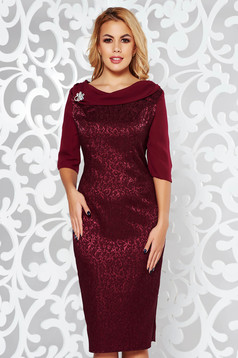 Burgundy dress elegant pencil slightly elastic fabric raised pattern