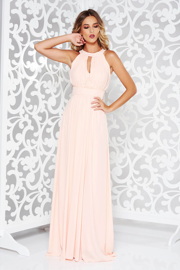 LaDonna peach dress occasional cloche from veil fabric with inside lining with push-up cups