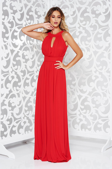 LaDonna red dress occasional cloche from veil fabric with inside lining with push-up cups