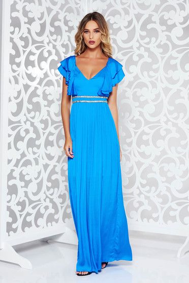 Blue occasional long cloche dress from satin fabric texture with deep cleavage