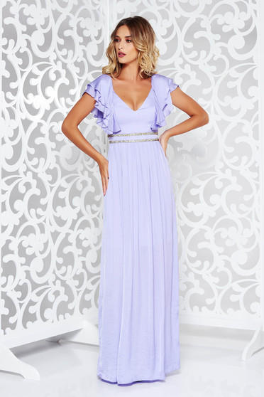 Lila occasional long cloche dress from satin fabric texture with deep cleavage