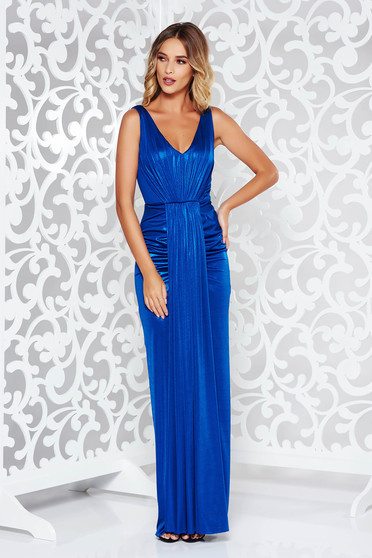 Blue occasional long mermaid dress from shiny fabric with deep cleavage