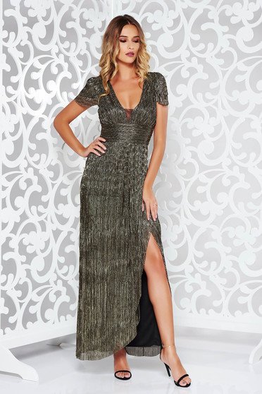 Silver occasional long cloche dress thin fabric with metallic aspect