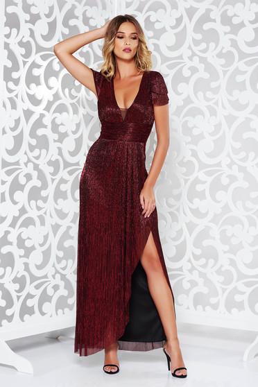 Burgundy occasional long cloche dress thin fabric with metallic aspect