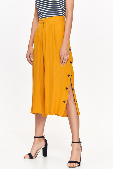 Top Secret yellow trousers casual high waisted airy fabric flaring cut