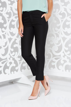 Black trousers office conical slightly elastic fabric with medium waist with pockets